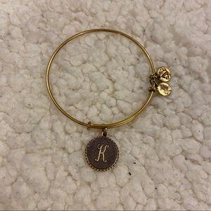 alex and ani k initial gold bangle bracelet